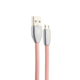 USB дата - кабель Remax Knight Cable (RC - 043m) MicroUSB плоский 2.1A fast charging (1.0 м) Розовый