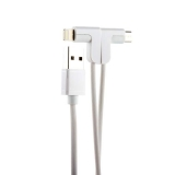 USB дата-кабель Hoco X12 One Pull Two L Shape Magnetic Adsorption Cable 2в1 Lightning&microUSB (1.2м) White