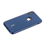 Чехол-накладка силиконовый Cherry матовый 0.4 mm & пленка для iPhone XS Синий
