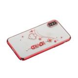 Чехол-накладка KINGXBAR для iPhone XS пластик со стразами Swarovski 49Z красный (Love)
