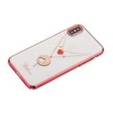 Чехол-накладка KINGXBAR для iPhone X (5.8) пластик со стразами Swarovski 49Z красный (Believe)