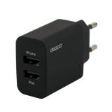 Адаптер питания Deppa Ultra MFI 3.4A D-11357, дата-кабель 8-pin Lightning 1.2 м (2USB: 5V 1A & 5V 2.4A) Черный