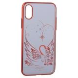 Чехол-накладка KINGXBAR для iPhone XS пластик со стразами Swarovski 49F Лебединая Любовь красный
