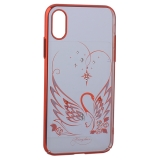 Чехол-накладка KINGXBAR для iPhone X (5.8) пластик со стразами Swarovski 49F Лебединая Любовь красный