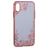 Чехол-накладка KINGXBAR для iPhone XS пластик со стразами Swarovski 49F (розовые цветы) красный