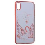 Чехол-накладка KINGXBAR для iPhone XS Max (6.5) пластик со стразами Swarovski 49F Лебединая Любовь красный