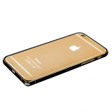 Бампер Fashion Case для iPhone 6s/ 6 (4.7) металлический черный с золотой полоской
