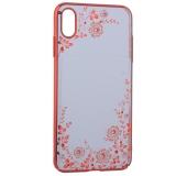 Чехол-накладка KINGXBAR для iPhone XS Max (6.5) пластик со стразами Swarovski 49F (розовые цветы) красный