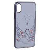 Чехол-накладка KINGXBAR для iPhone XS пластик со стразами Swarovski 49F Лебединая Любовь черный