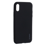 Чехол-накладка Deppa Case Silk TPU Soft touch D-89040 для iPhone X (5.8) 1мм Черный металик