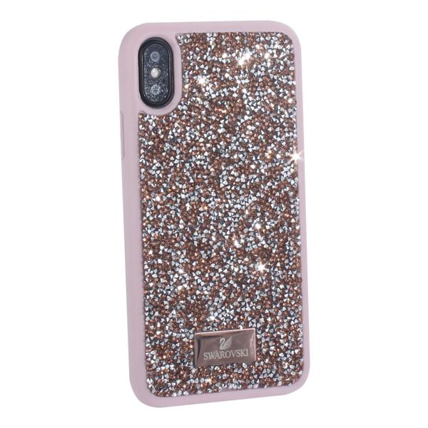 Чехол-накладка силиконовая со стразами SWAROVSKI Crystalline для iPhone X (5.8) Розовое золото №1