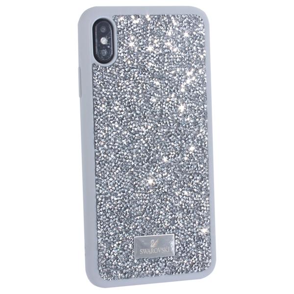 Чехол-накладка силиконовая со стразами SWAROVSKI Crystalline для iPhone XS Max (6.5) Светло-серый