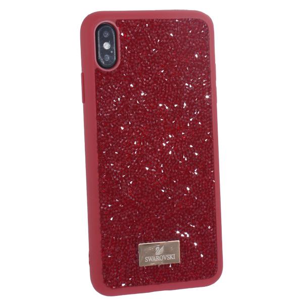 Чехол-накладка силиконовая со стразами SWAROVSKI Crystalline для iPhone XS Max (6.5) Красный