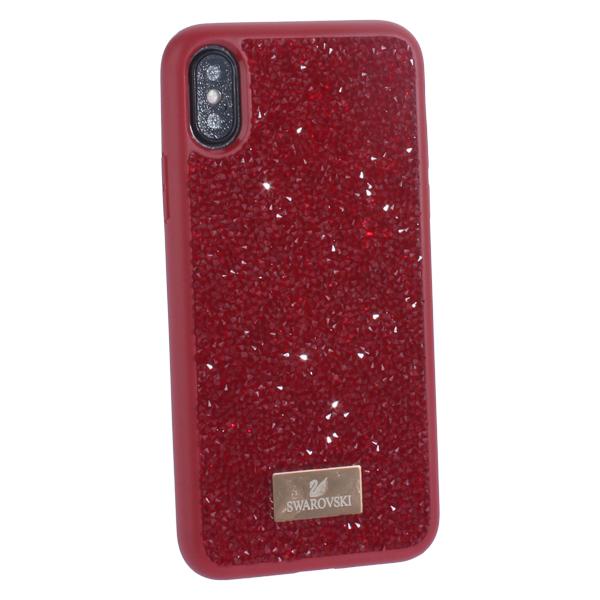 Чехол-накладка силиконовая со стразами SWAROVSKI Crystalline для iPhone X (5.8) Красный