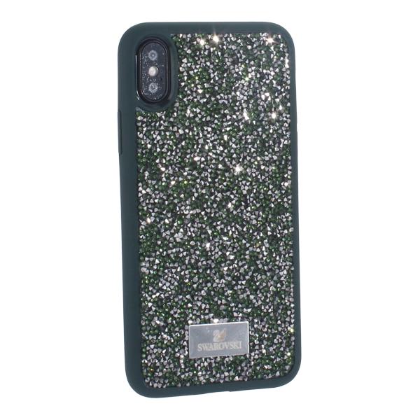 Чехол-накладка силиконовая со стразами SWAROVSKI Crystalline для iPhone X (5.8) Темно-зеленый