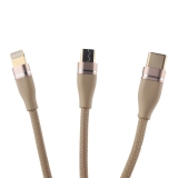 USB дата-кабель COTEetCI M48 (3в1) Lightning+MicroUSB+Type-C Cable QUICK CHARGE CS2162-GD (1.2м) Золотистый
