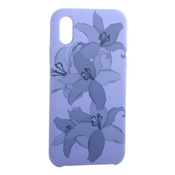 Чехол-накладка силиконовый Silicone Cover для iPhone X (5.8) Орхидея Сиреневый