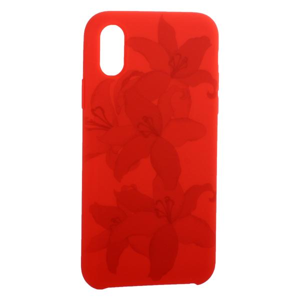 Чехол-накладка силиконовый Silicone Cover для iPhone X (5.8) Орхидея Красный