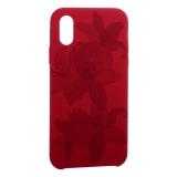 Чехол-накладка силиконовый Silicone Cover для iPhone X Орхидея Бордово-фиолетовый