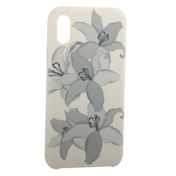 Чехол-накладка силиконовый Silicone Cover для iPhone X (5.8) Орхидея Бежевый