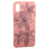 Чехол-накладка силиконовый Silicone Cover для iPhone X Орхидея Розовый