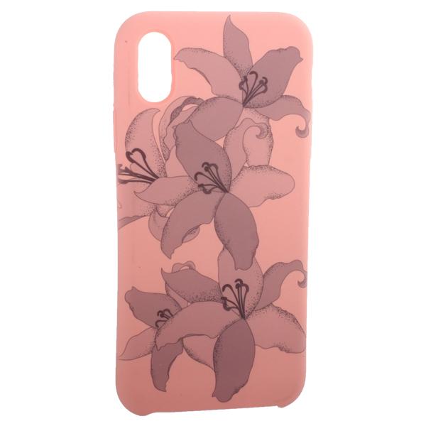 Чехол-накладка силиконовый Silicone Cover для iPhone X (5.8) Орхидея Розовый
