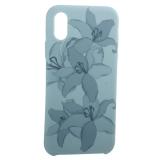 Чехол-накладка силиконовый Silicone Cover для iPhone X Орхидея Бирюзовый