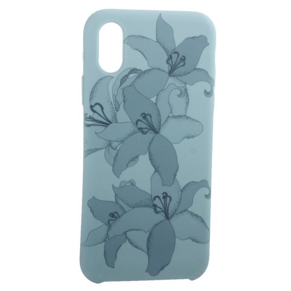 Чехол-накладка силиконовый Silicone Cover для iPhone X (5.8) Орхидея Бирюзовый