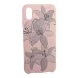 Чехол-накладка силиконовый Silicone Cover для iPhone X Орхидея Светло-коралловый
