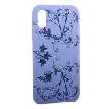 Чехол-накладка силиконовый Silicone Cover для iPhone X Узор Сиреневый