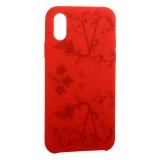 Чехол-накладка силиконовый Silicone Cover для iPhone X Узор Красный
