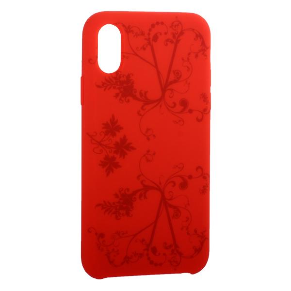 Чехол-накладка силиконовый Silicone Cover для iPhone X (5.8) Узор Красный