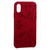 Чехол-накладка силиконовый Silicone Cover для iPhone X Узор Бордово-фиолетовый