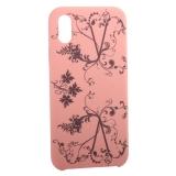 Чехол-накладка силиконовый Silicone Cover для iPhone X Узор Розовый