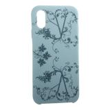 Чехол-накладка силиконовый Silicone Cover для iPhone X (5.8) Узор Бирюзовый