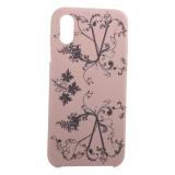 Чехол-накладка силиконовый Silicone Cover для iPhone XS Узор Светло-коралловый