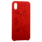 Чехол-накладка силиконовый Silicone Cover для iPhone XS Max (6.5) Узор Красный