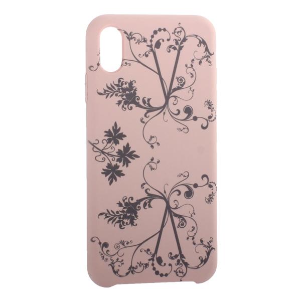 Чехол-накладка силиконовый Silicone Cover для iPhone XS Max (6.5) Узор Светло-коралловый