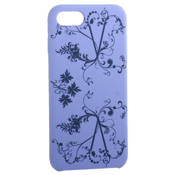 Чехол-накладка силиконовый Silicone Cover для iPhone 7 (4.7) Узор Сиреневый
