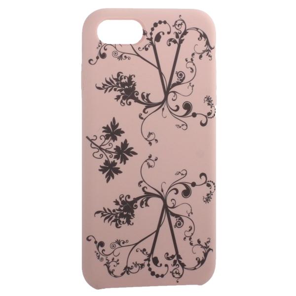 Чехол-накладка силиконовый Silicone Cover для iPhone 7 (4.7) Узор Светло-коралловый