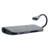 Переходник Baseus Almighty HUB 8в1 (ACBOOK2-OG) Type-C to USB3.0x3/ HDMI 4K/ Gigabit/ Type-C/ SD/ MicroSD для MacBook Графит