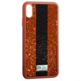 Чехол-накладка силиконовая со стразами SWAROVSKI Crystalline для iPhone XS Max (6.5) Коричневый