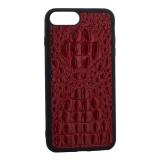 Накладка кожаная Vorson под крокодила для iPhone 7 Plus силиконовый борт Красная