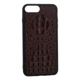 Накладка кожаная Vorson под крокодила для iPhone 8 Plus силиконовый борт Коричневая