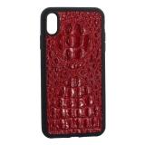 Накладка кожаная Vorson под крокодила для iPhone XS Max (6.5) силиконовый борт Красная
