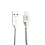 USB дата-кабель BoraSCO ID 35102 в металлической оплетке 3A MicroUSB (1.0 м) Серебристый