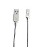 USB дата-кабель BoraSCO ID 35103 в металлической оплетке 3A, QC 3.0 Type-C (1.0 м) Серебристый
