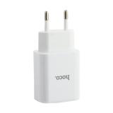 Адаптер питания Hoco C62A Victoria dual port charger (2USB: 5V max 2.1A) Белый