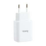 Адаптер питания Hoco C63A Victoria dual port charger with digital display (2USB: 5V max 2.1A) Белый