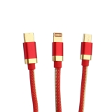 USB дата-кабель Innovation (O3IMT-OCTOPUS) Lux 3в1 Lightning+MicroUSB+Type-C Cable 2A (1.2м) Красный